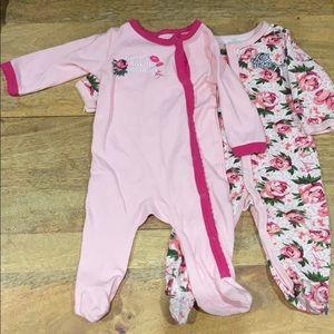 Betsy Johnson baby girl 2 footie onesie 9 month